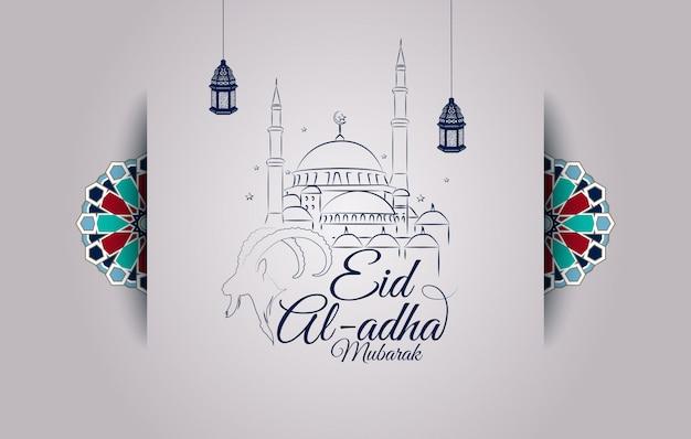 Eid al-adha-grußkarte mit ziegenkopfschattenbild und moschee Premium Vektoren