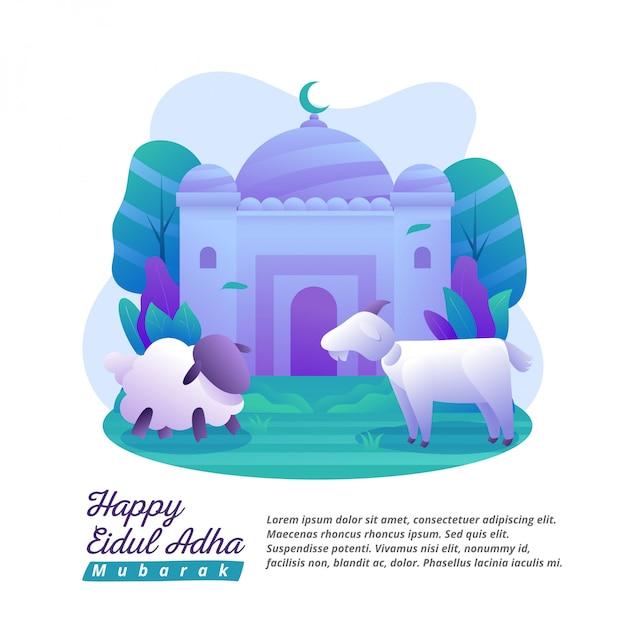 Eid al-adha ist ein tag, um freude und essen zu teilen Premium Vektoren