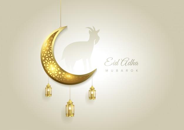 Eid al adha mubarak feiert den hintergrund des festivals der muslimischen gemeinschaft Premium Vektoren