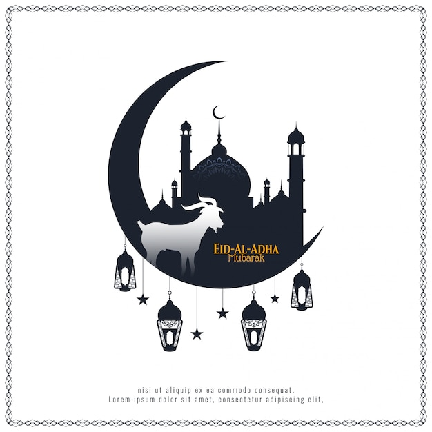 Eid al adha mubarak schöner islamischer vektorhintergrund Kostenlosen Vektoren