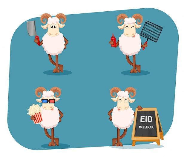 Eid al-adha mubarak. traditioneller muslimischer feiertag Premium Vektoren