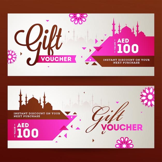 Eid al-fitr mubarak horizontale geschenkgutschein- oder gutscheinvorlage Premium Vektoren