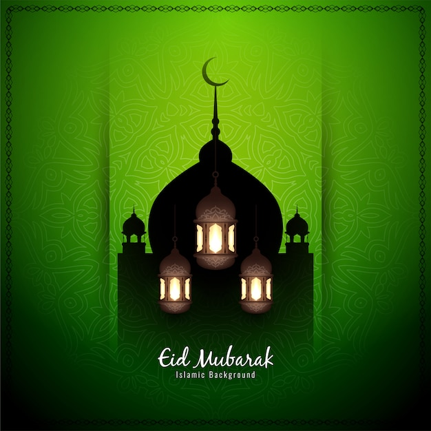 Eid mubarak dekorativer islamischer grüner hintergrund Premium Vektoren