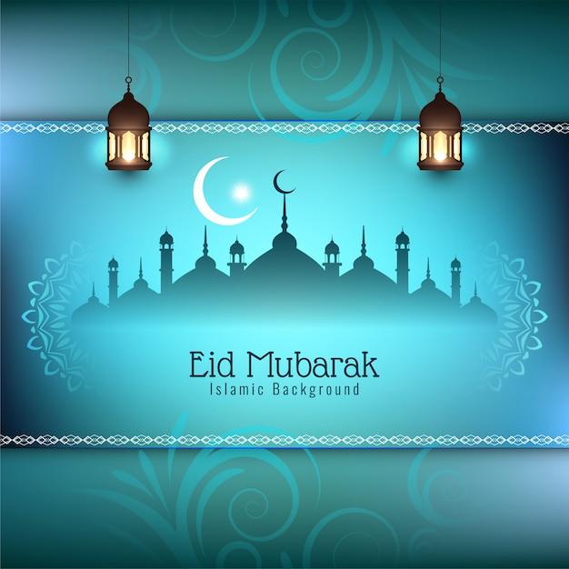 Eid mubarak festivalgrußhintergrund Kostenlosen Vektoren