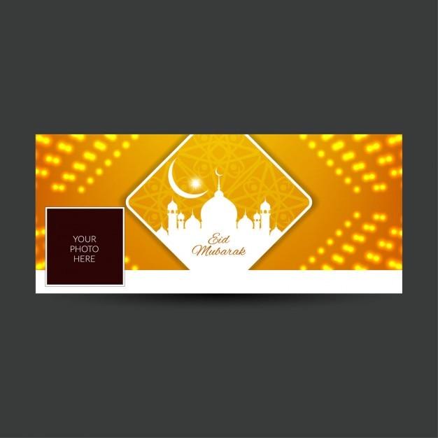 Eid mubarak glühenden facebook timeline abdeckung Kostenlosen Vektoren