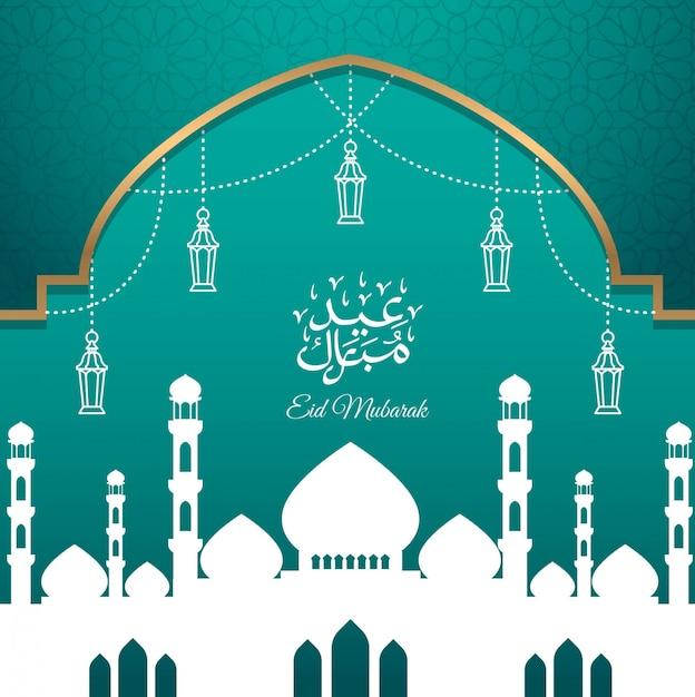 Eid mubarak-grußkartendesign mit schattenbildmoschee Premium Vektoren