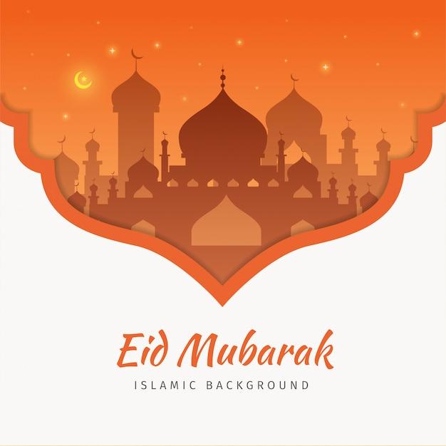Eid mubarak-grußkartenhintergrund mit der moschee Premium Vektoren