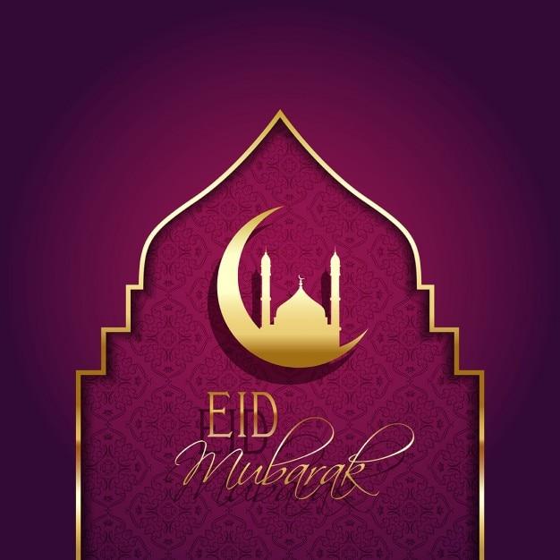 Eid mubarak hintergrund mit dekorativen art Kostenlosen Vektoren