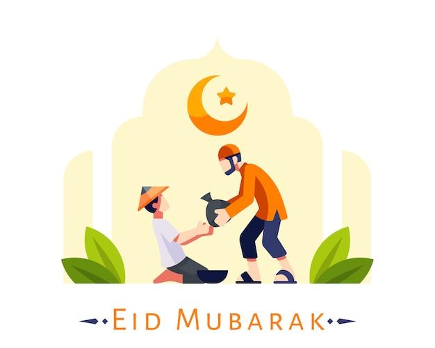 Eid mubarak hintergrund mit jungen muslimischen mann geben lebensmittel spende an arme leute illustration Premium Vektoren