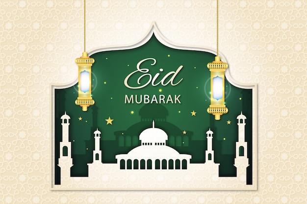 Eid mubarak im moschee- und grünen nachtpapierstil Kostenlosen Vektoren