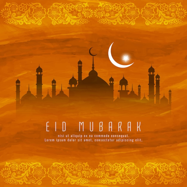 Eid mubarak islamisches religiöses hintergrunddesign Kostenlosen Vektoren