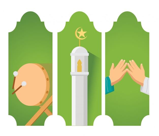 Eid mubarak karte Premium Vektoren