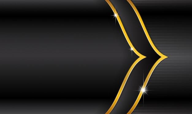 Eid mubarak-logo auf schwarzem luxus- und streifengold Premium Vektoren