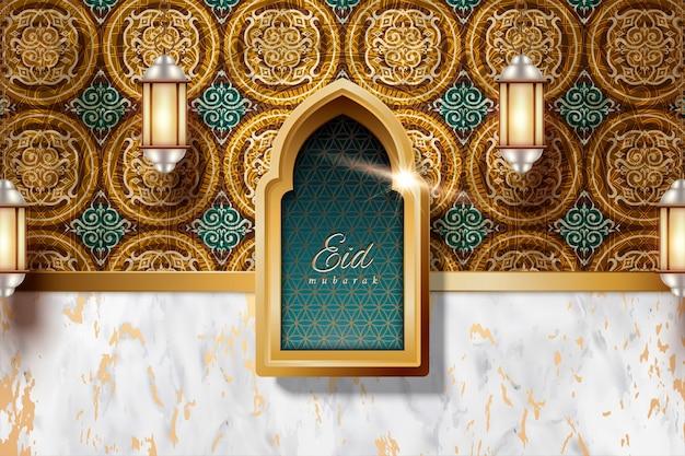Eid mubarak mit arabeskendekorationen und marmorsteinbeschaffenheitshintergrund, laternen, die in der luft hängen Premium Vektoren