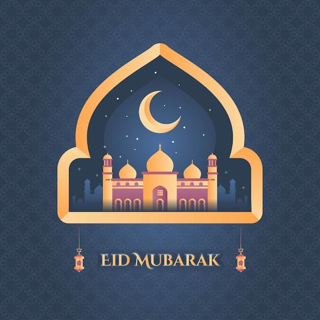 Eid mubarak mit schöner moschee Premium Vektoren