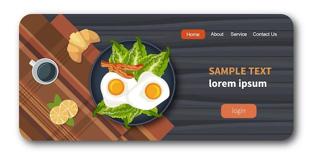 Eier auf einer platte mit gesundem gemüse Premium Vektoren