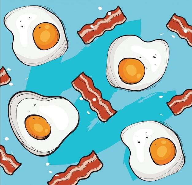 Eier und speck hintergrund vektor Premium Vektoren