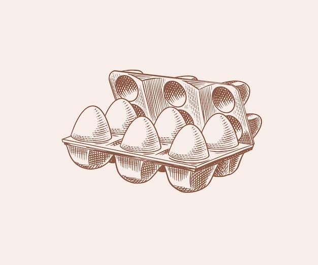 Eierverpackung. landwirtschaftliches produkt. gravierte handgezeichnete retro-vintage-skizze. holzschnittart. abbildung für menü oder poster. Premium Vektoren