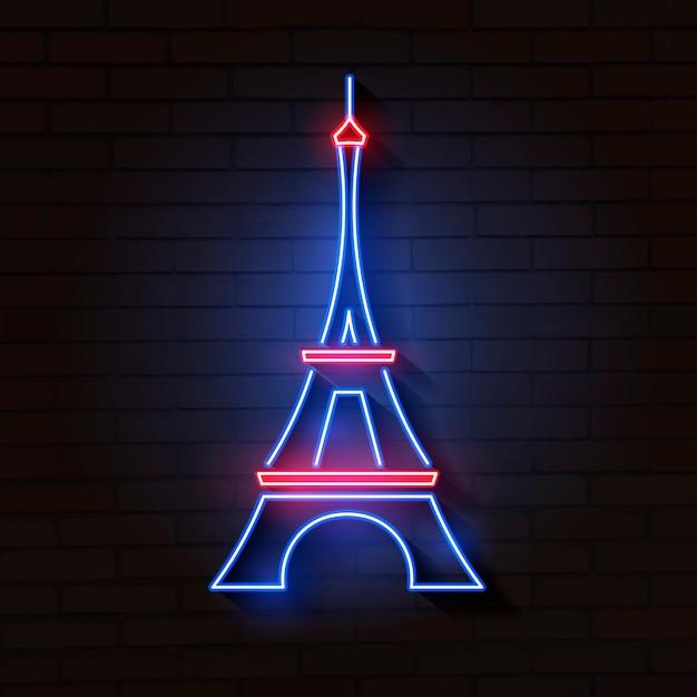 Eiffelturm im neonlicht auf ziegelstein Premium Vektoren