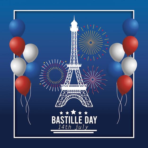 Eiffelturm mit ballonen und feuerwerksdekoration Kostenlosen Vektoren