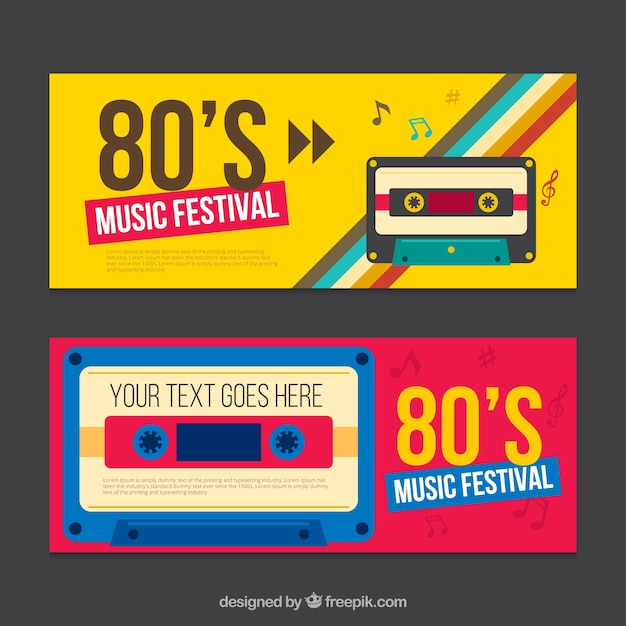 Eighties banner mit kassette Kostenlosen Vektoren