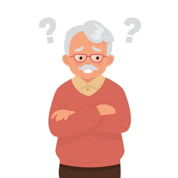 Ein älterer mann denkt mit vielen fragen Premium Vektoren