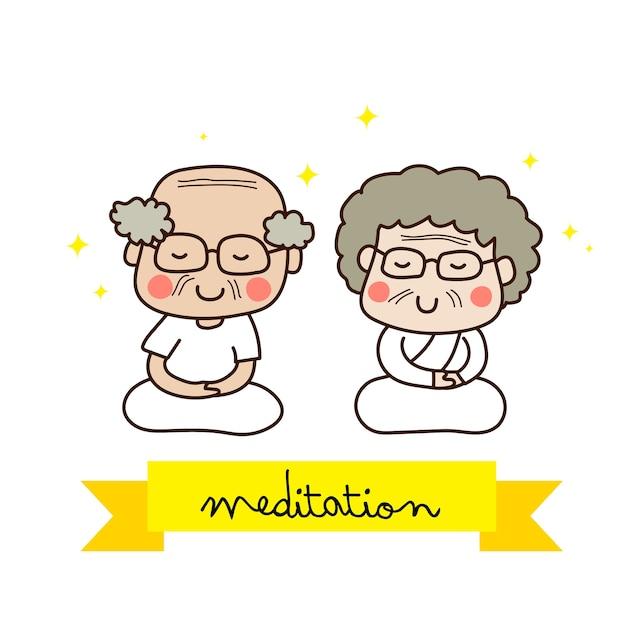 Ein älteres paar, das in der weißen ausstattung meditiert Premium Vektoren