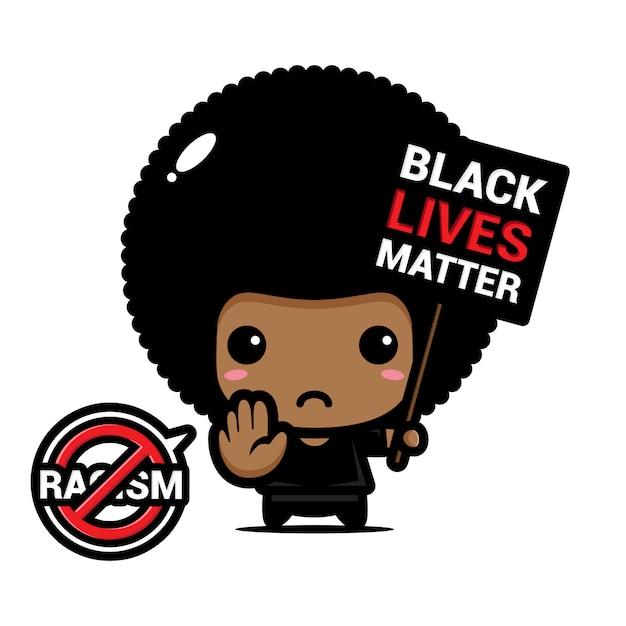Ein afro-junge mit einem stopp-rassismus-symbol Premium Vektoren