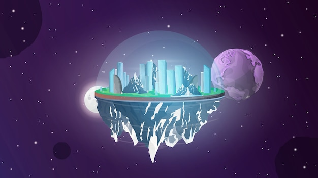Ein asteroid im weltraum. zivilisation auf einem asteroiden. Premium Vektoren