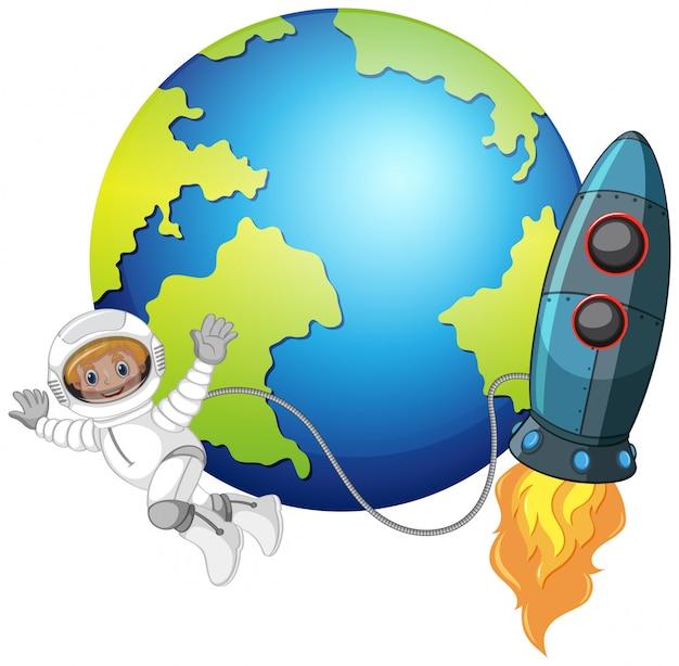 Ein astronaut im weltall Kostenlosen Vektoren
