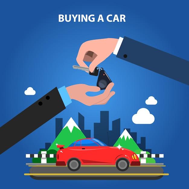 Ein autokonzept kaufen Kostenlosen Vektoren