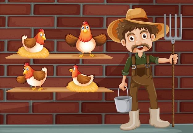 Ein bauer neben den vier hühnern Kostenlosen Vektoren