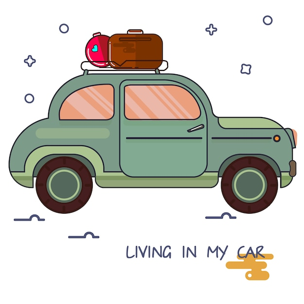 Ein bild eines autos in der karikaturart. Premium Vektoren