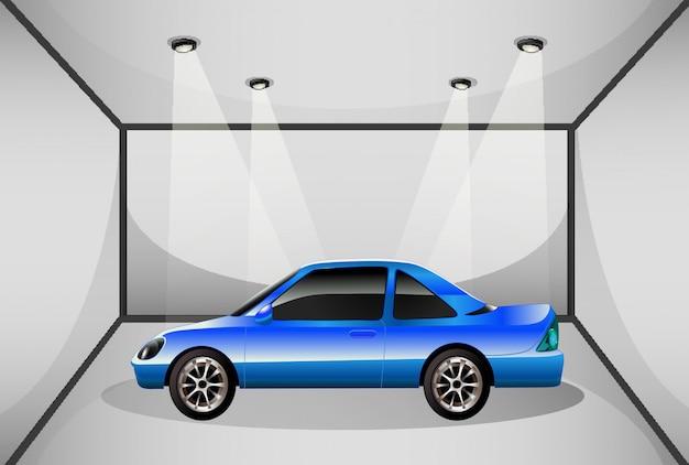 Ein blau getöntes auto in der garage Kostenlosen Vektoren