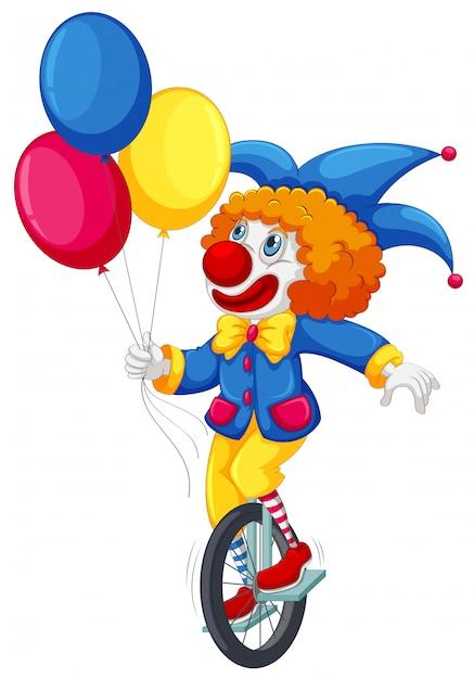 Ein clown, der ein einrad fährt Premium Vektoren