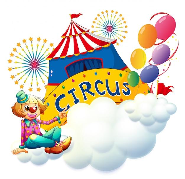 Ein clown, der mit einem zirkusschild sitzt Kostenlosen Vektoren