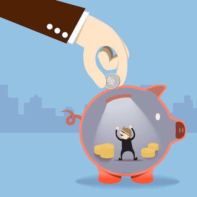 Ein dieb stehlen geld in sparschwein Premium Vektoren