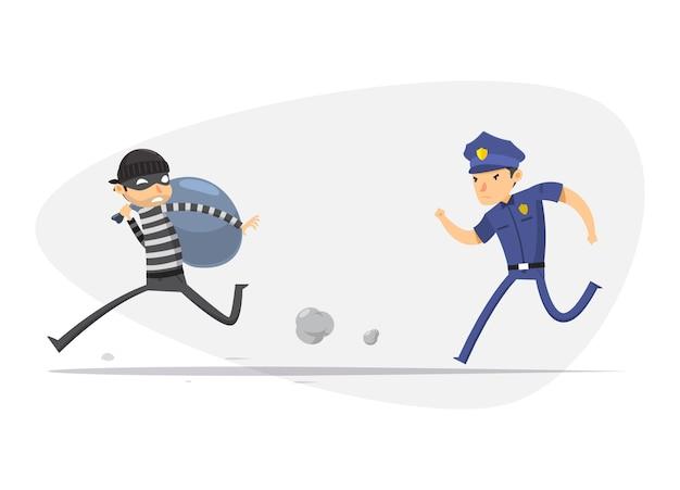 Ein dieb wird von einer polizei verfolgt. isolierte vektor-illustration Premium Vektoren