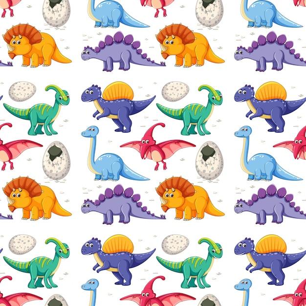 Ein dinosaurier auf nahtlosem muster Kostenlosen Vektoren