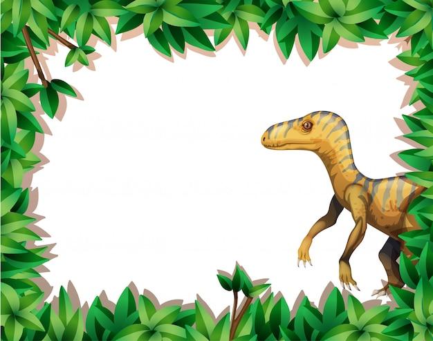 Ein dinosaurier auf naturrahmen Premium Vektoren