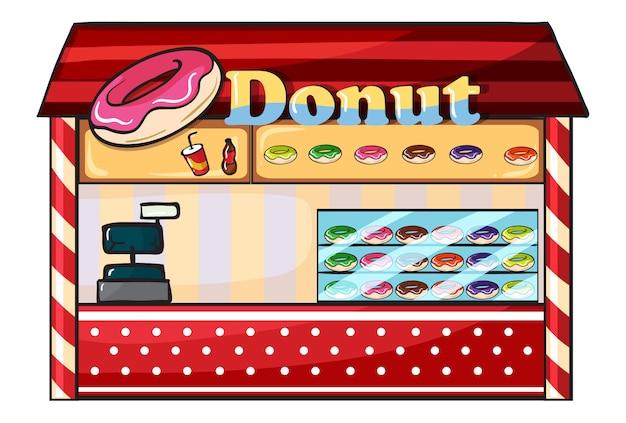 Ein donut-laden Premium Vektoren