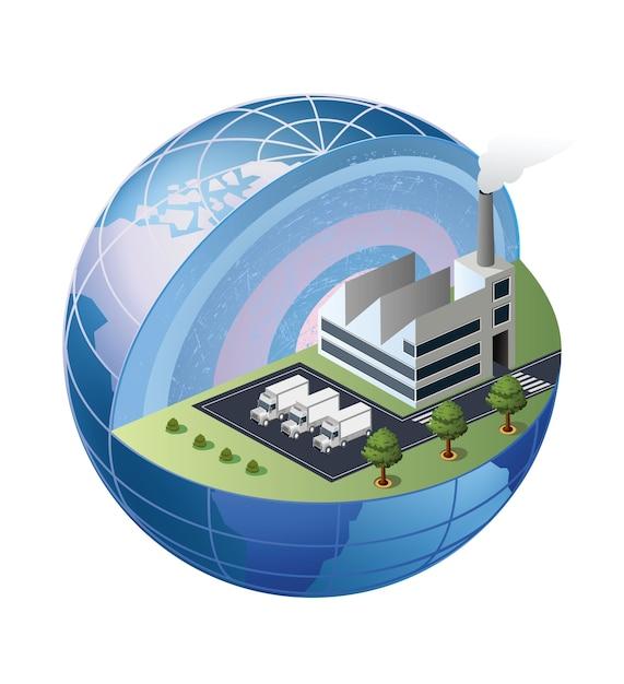 Ein fragment der fabrik befindet sich im bereich des globus Premium Vektoren