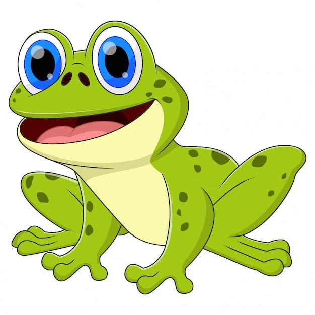 Ein frosch tier cartoon sitzen und lächeln Premium Vektoren