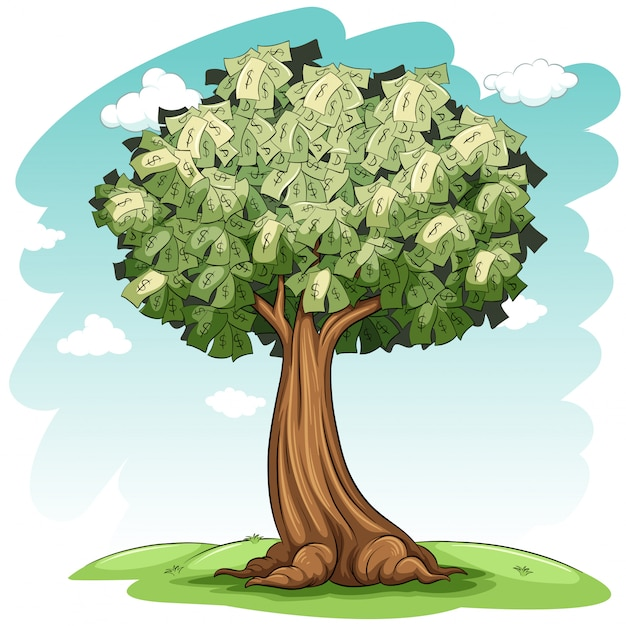 Ein geldbaum Kostenlosen Vektoren