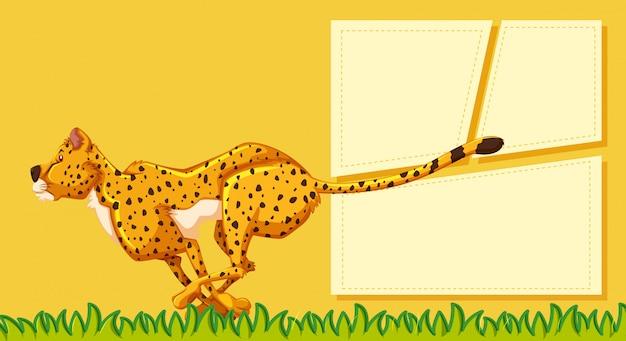 Ein gepard auf leere notiz Kostenlosen Vektoren