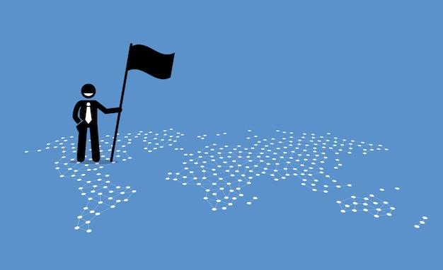 Ein geschäftsmann, der eine flagge hält und oben auf den vereinigten staaten einer weltkarte steht. Premium Vektoren