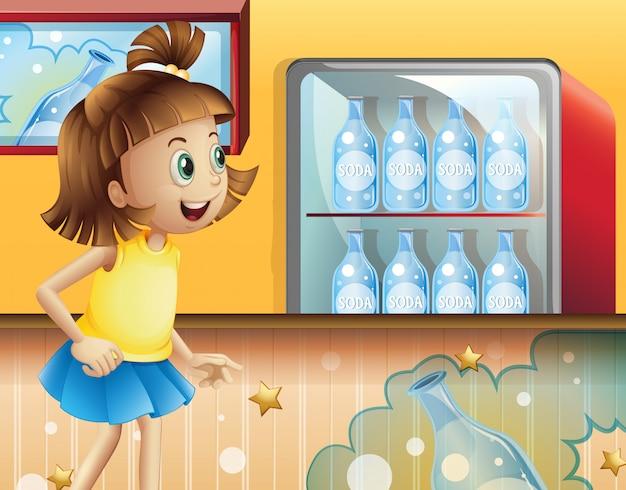 Ein glückliches junges mädchen innerhalb des speichers, der soda verkauft Kostenlosen Vektoren