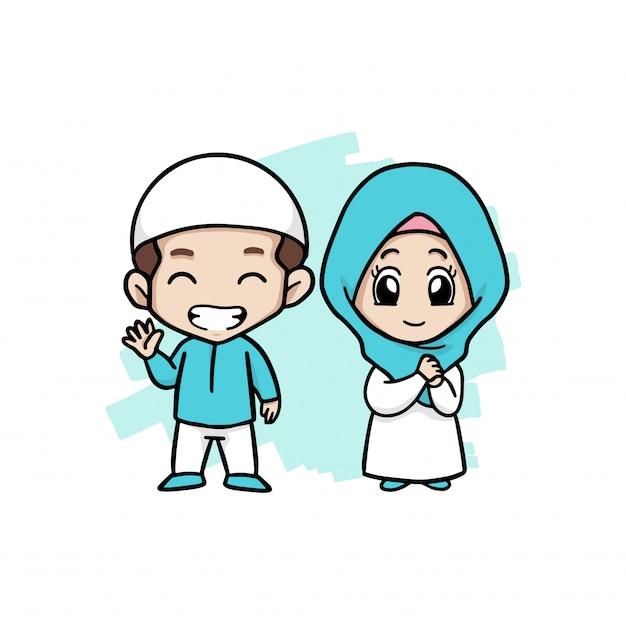 Ein glückliches paar muslimische kinder Premium Vektoren