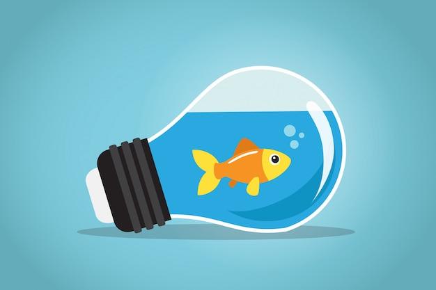 Ein goldener fisch schwimmt im wasser einer birne Premium Vektoren