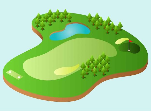 Ein golfplatz mit einem see, einige bäume, isometrische darstellung Premium Vektoren